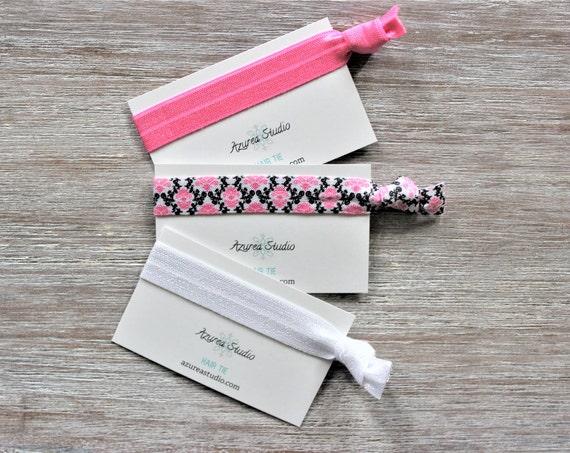 Filigree Floral Pink Black-Bright Pink-Filigree Floral-White-Hair Ties