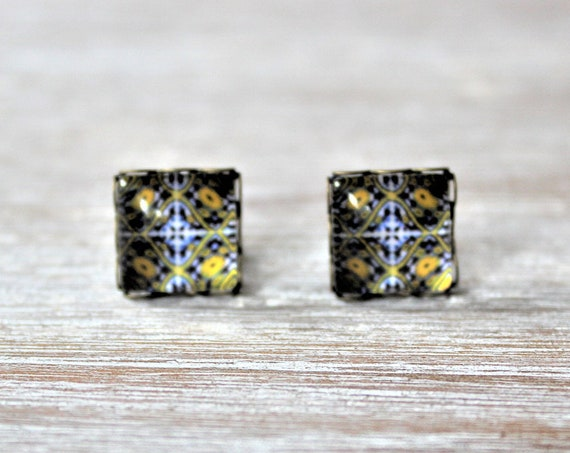 Portuguese Tile Glass Image Replica Navy Blue Yellow White Stud Earrings