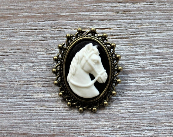 White Horse Black Cameo Brooch