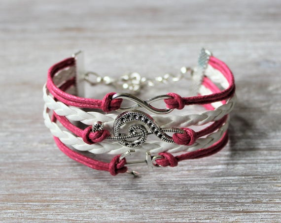 Infinity-Treble Clef-Anchor-Hot Pink-White-Cord Bracelet