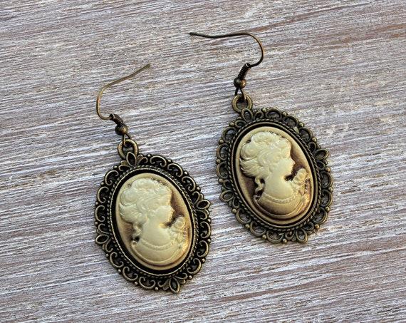 Victorian Lady Tan Cameo Earrings