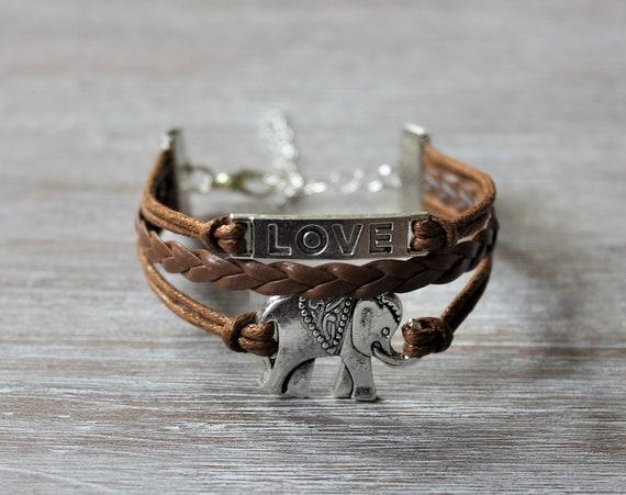 Love Elephant Light Brown Cord Bracelet