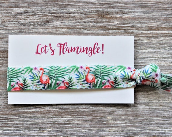 Flamingo Tropical Green Hair Tie-Let's Flamingle!