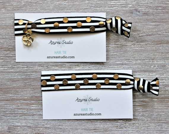 Black White Stripes Gold Polka Dots Hair Ties