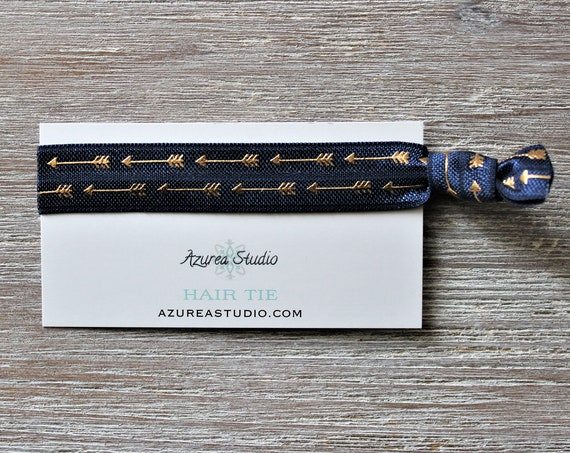Navy Blue Gold Arrows Hair Ties