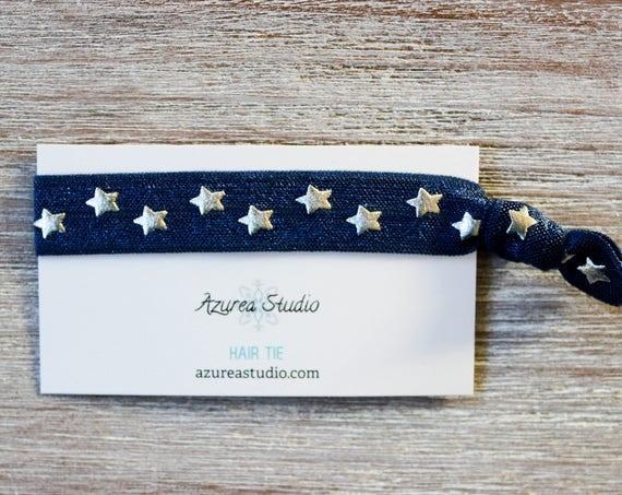 Navy Blue Silver Stars Hair Ties