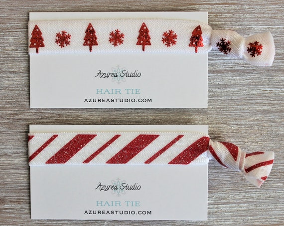 Christmas Red Metallic Trees Snowflake White-Candy Cane Swirl Glitter Red White-Hair Ties