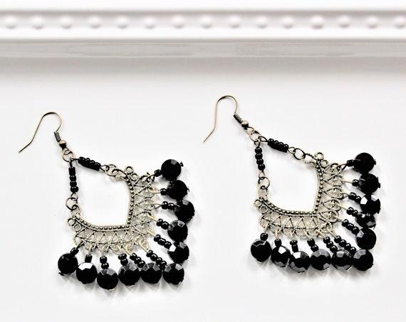 Black Beaded Antique Bronze Earrings