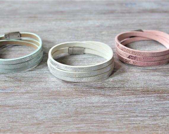 Metalic Silver Wrap Bracelet-Light Pink-Light Blue-White