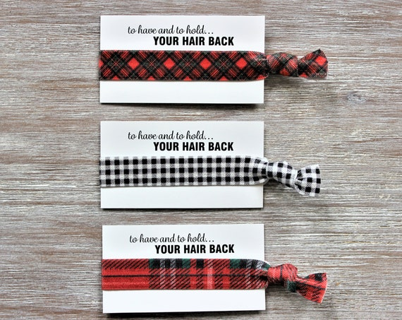 Diagonal Plaid-Check Black White-Red Green Plaid-Hair Ties