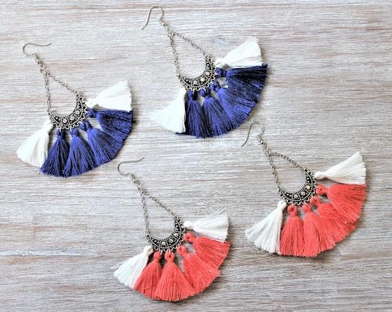 Royal blue White-Orange White-Tassel Earrings