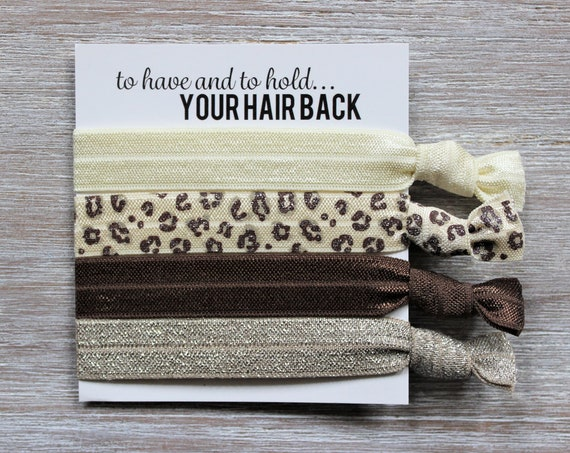 Ivory-Cheetah Ivory Brown-Brown-Taupe Shimmer-Hair Tie Set