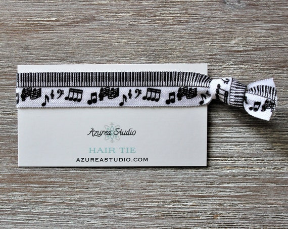 Music Notes Piano Keys Hair Ties