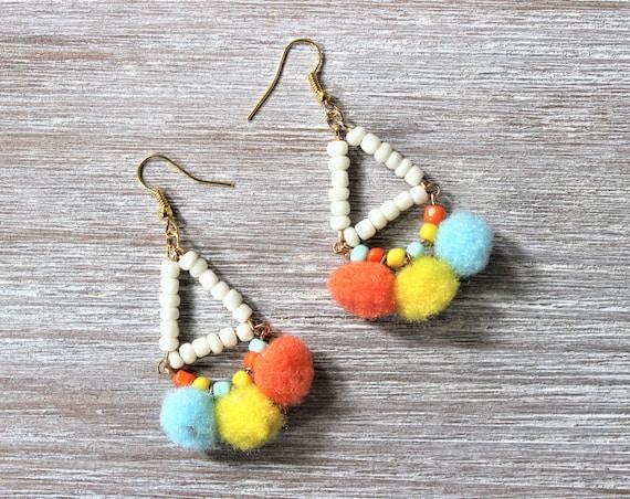 Triangle Beaded Blue Yellow Orange Pom Pom Earrings