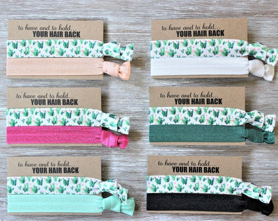 Cactus Hair Ties-Light Peach-Hot Pink-Mint Green-White-Hunter Green-Black