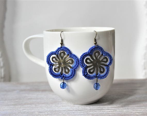 Royal Blue Antique Bronze Crochet Medallion Earrings