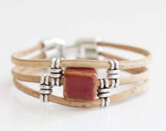 Cork with Brick Ceramic Bracelet