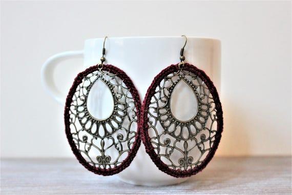 Burgundy Filigree Crochet Antique Bronze Earrings