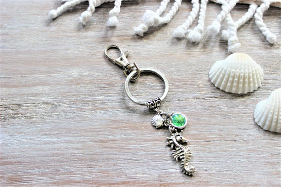 Seahorse Shell Starfish Green Key Chain