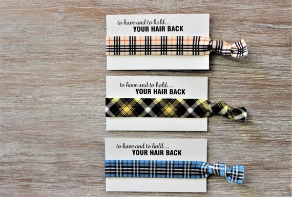 Tan Black Square Plaid-Yellow Black Diagonal Plaid-Blue White Square Plaid-Hair Ties