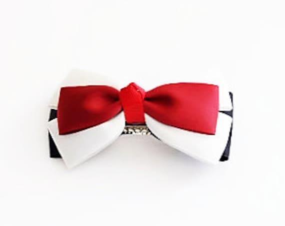 Red White Black Bow Hair Clip