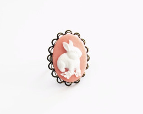 White Bunny Pink Cameo Ring