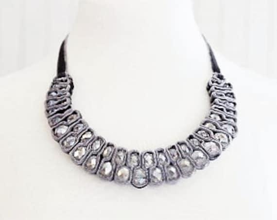 Gray Velvet Crystal Bead Necklace