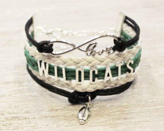 Love Infinity WILDCATS Football Green White Black Cord Bracelet