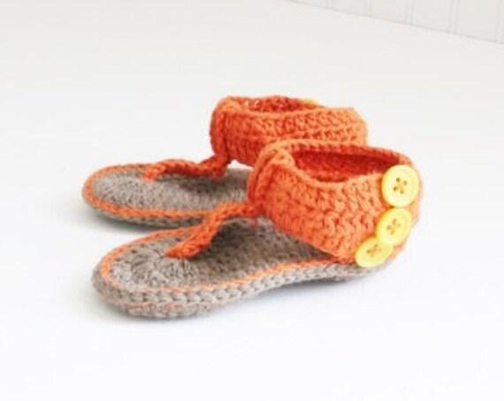 Orange Crochet Baby Sandals 6-12 Months