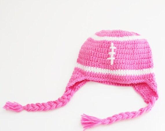Football Pink White Baby Beanie/ Crochet Hat/ Baby Beanie