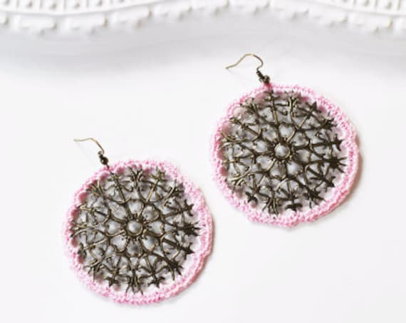 Pink Medallion Crochet Earrings