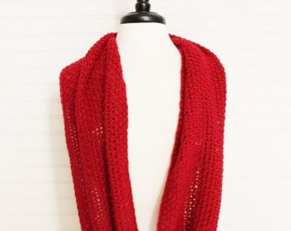 Red Knitted Infinity Scarf