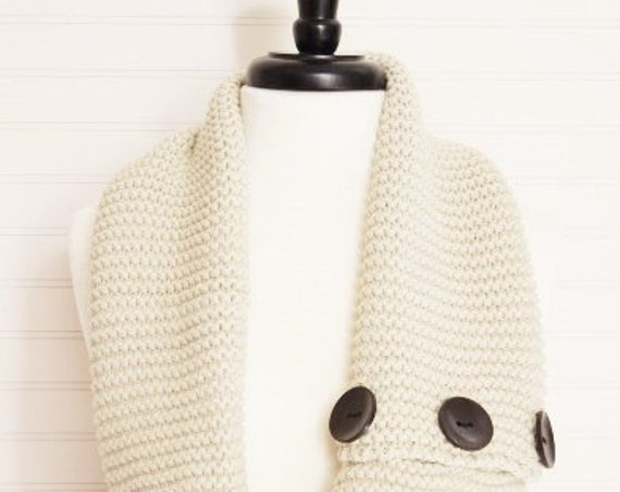 Cream Knitted Brown Wood Buttons Infinity Scarf/ Cozy Scarf