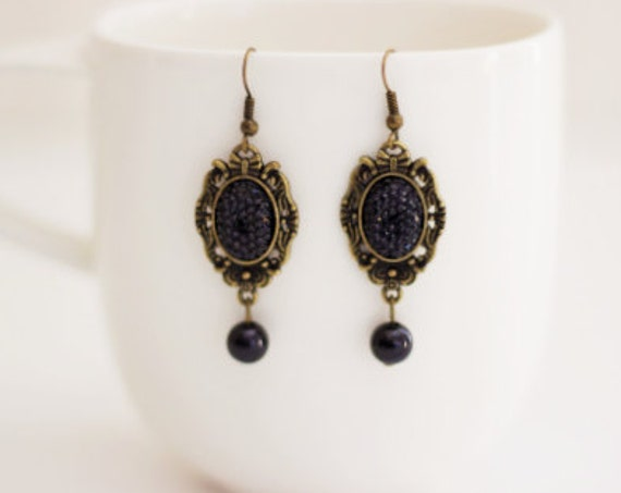 Black Antique Bronze Earrings