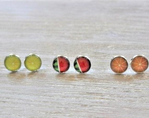 Lemon-Watermelon-Orange-Glass Silver Tone Stud Earrings