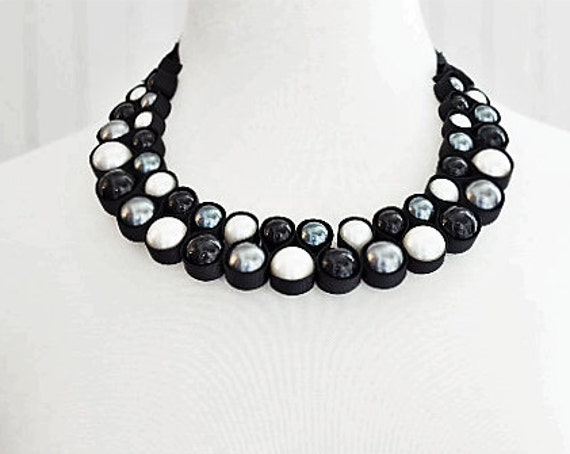Black Ivory Gray Pearl Beads Necklace