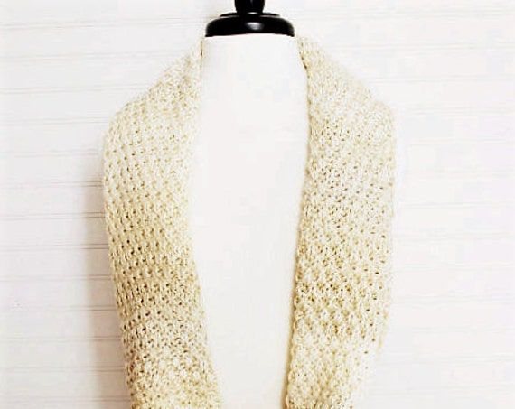 Cream Multi Knitted Infinity Scarf
