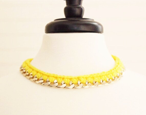Yellow Yarn Crochet Chain Gold Choker Necklace