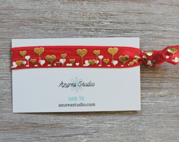 Hearts Gold White Red Hair Ties