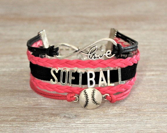 Love SOFTBALL Hot Pink Black Cord Bracelet