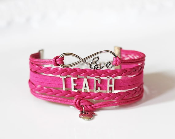Love Infinity TEACH Apple Fuchsia Cord Bracelet