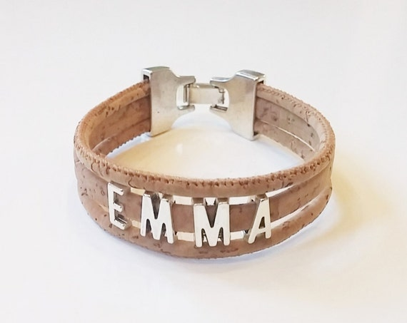 Personalized Cork Name Natural Bracelet