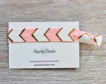 Arrow Gold Pink White Hair Tie