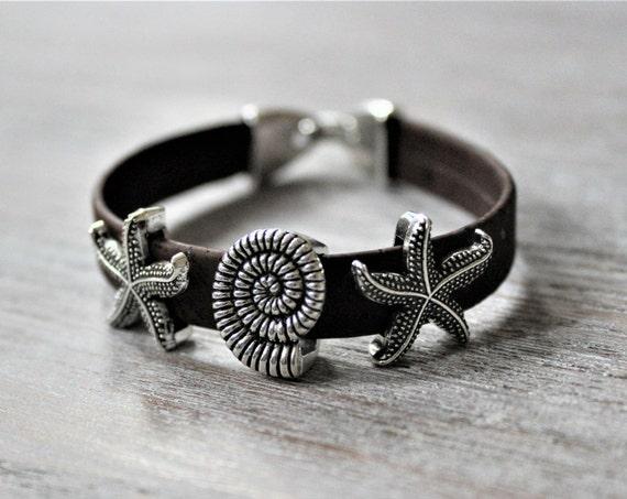 Starfish Shell Brown Cork Silver Tone Bracelet