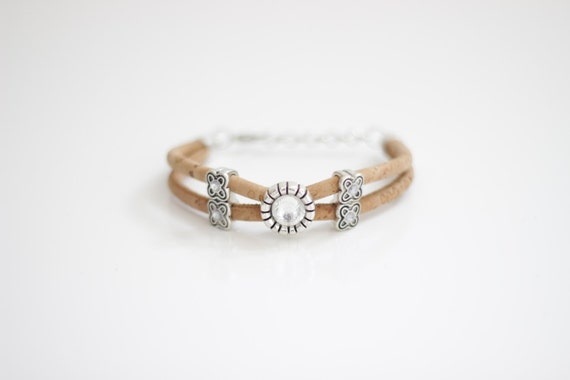 Cork Crystal Charm Bracelet