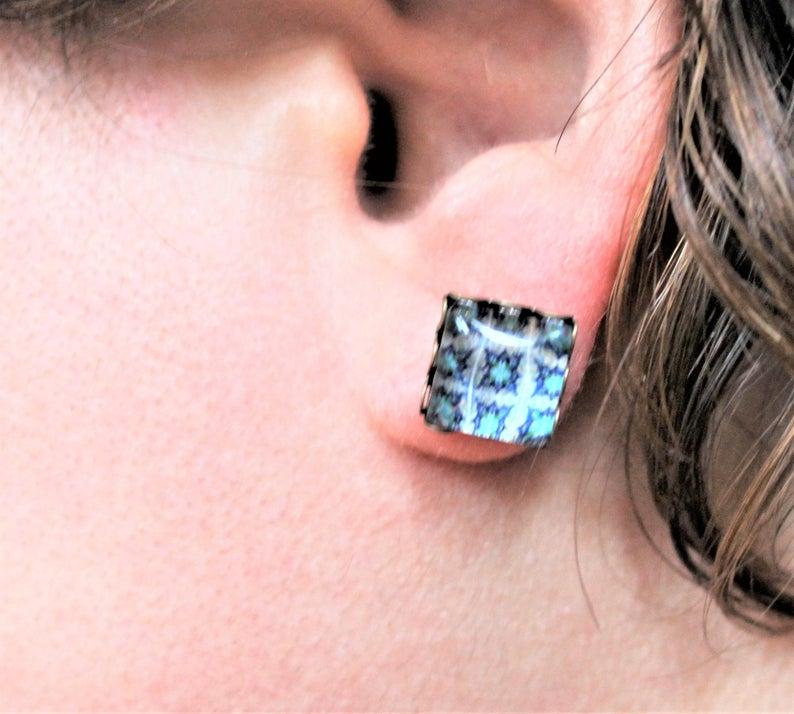 Portuguese Tile Blue Light Blue Glass Replica Stud Earrings