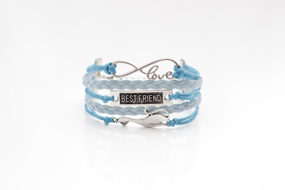 Love Infinity Best Friend Cat Turquoise Light Blue Cord Bracelet
