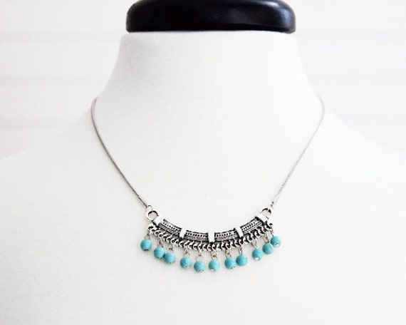 Turquoise Dyed Howlite Necklace