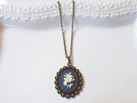 Blue White Flower Cameo Necklace