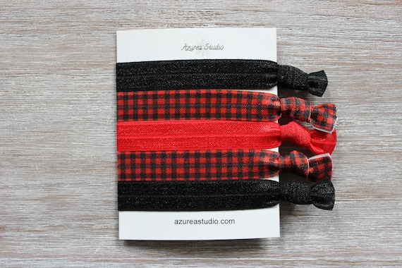 Black-Buffalo Plaid-Red Hair Tie Set